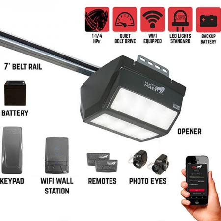 Mighty Mule MM9545M Pintu Otomatis 1 1/4 HPe Smart Garage Door Opener
